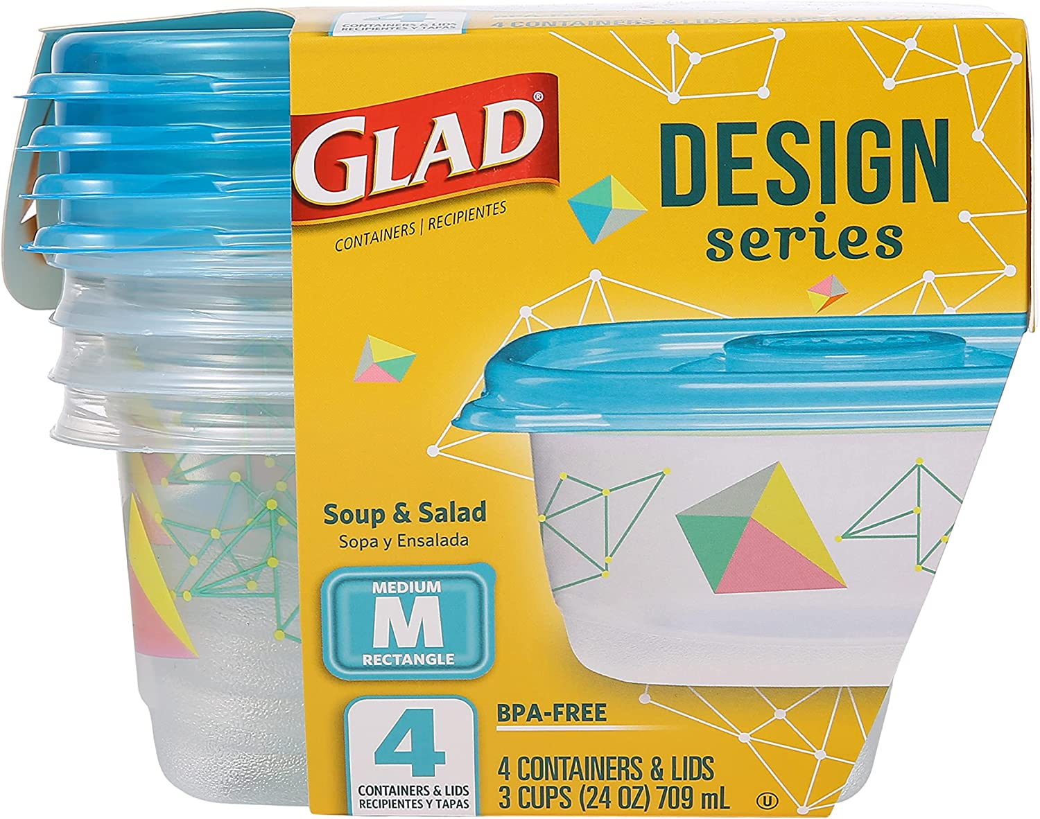 Glad Series Food Storage Containers, 4 Count | Strong and Durable Food Storage Food Containers for Everyday Use | Use to Store Meals, Snacks, and Desserts