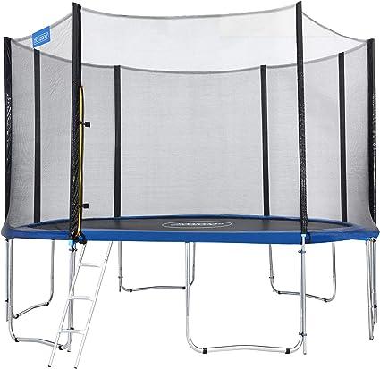 Monzana Trampolín de 427 cm cama elástica negro y azul con red de ...