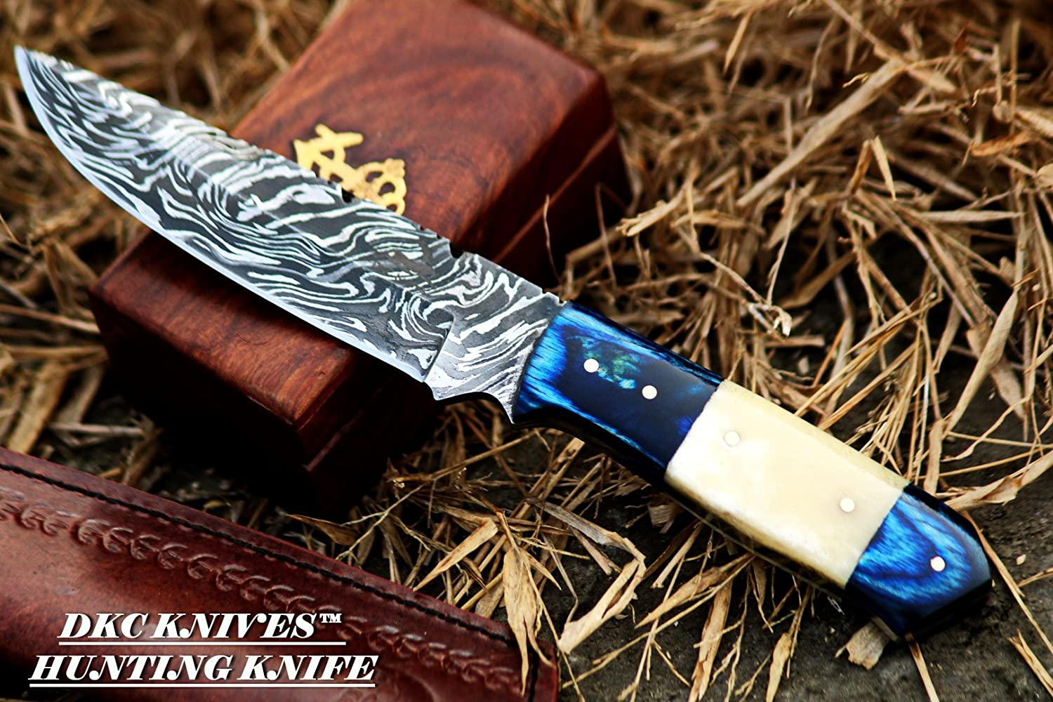 10 6 18 DKC-521-HT-DS Blue Moon Hunter Damascus Steel Knife Handmade Knife Fixed Blade 7 oz 9 Long