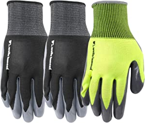 3 Pair Pack Nitrile Coated Grip Work Gloves, Large (Wells Lamont 546F)