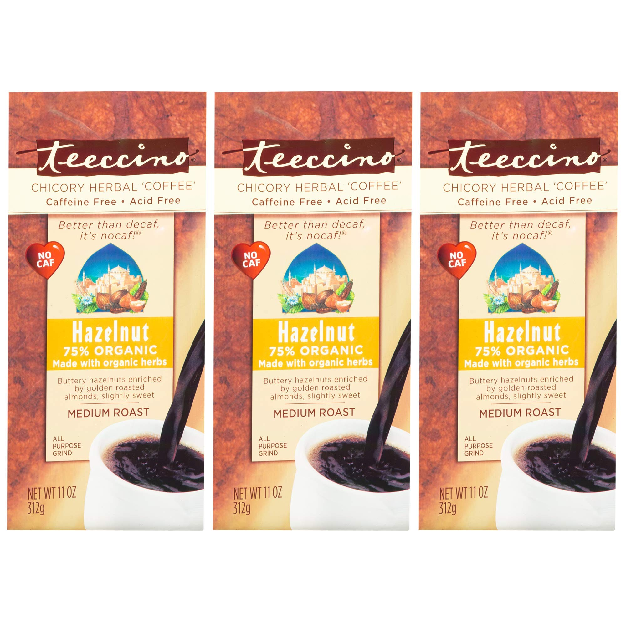 Teeccino Hazelnut Chicory Herbal Coffee Alternative, Caffeine Free, Acid Free, Coffee Substitute, Prebiotic, 11 Ounce (Pack of 3) by Teeccino