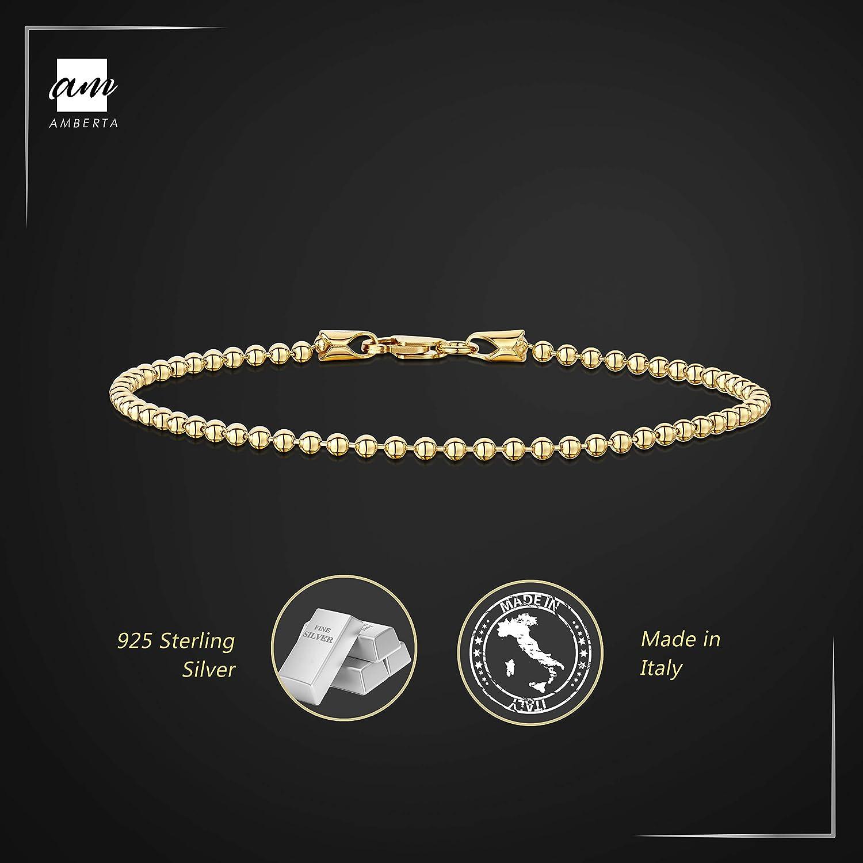 Cha/îne Argent 925//1000 Plaqu/é Or 18K Longueur 18 19 cm Bracelet Largeur 2 mm Maille Boule Amberta/® Bijoux