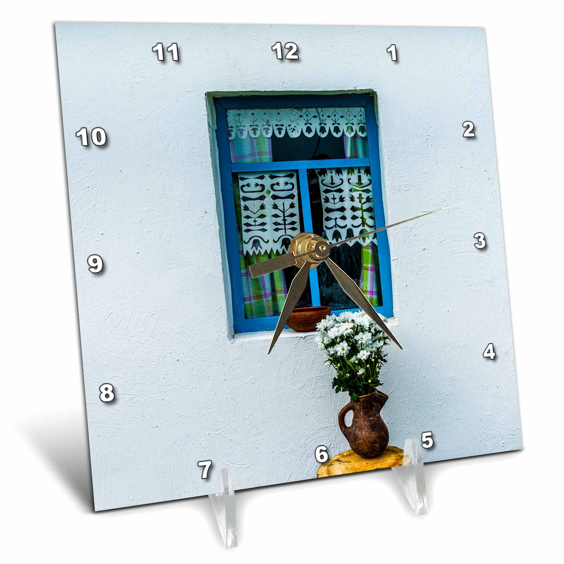 3dRose Alexis Photography - Architecture - White wall, blue window, white flowers, adobe house - 6x6 Desk Clock (dc_270844_1)