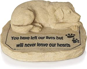 Besti Dog Memorial Stone - Cold-Cast Ceramic Bereavement Statue with Engraved Message for The Loss of a Pet - Outdoor Rock Figurine for Garden, Grave, Backyard - - 8.75 x 7.75 x 3.25-Inch Ornament