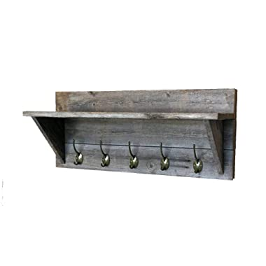 Rustic Wall Mounted Coat Rack and Hat Shelf, 100% Weathered Reclaimed Wood by Grampa's Rustic Decor