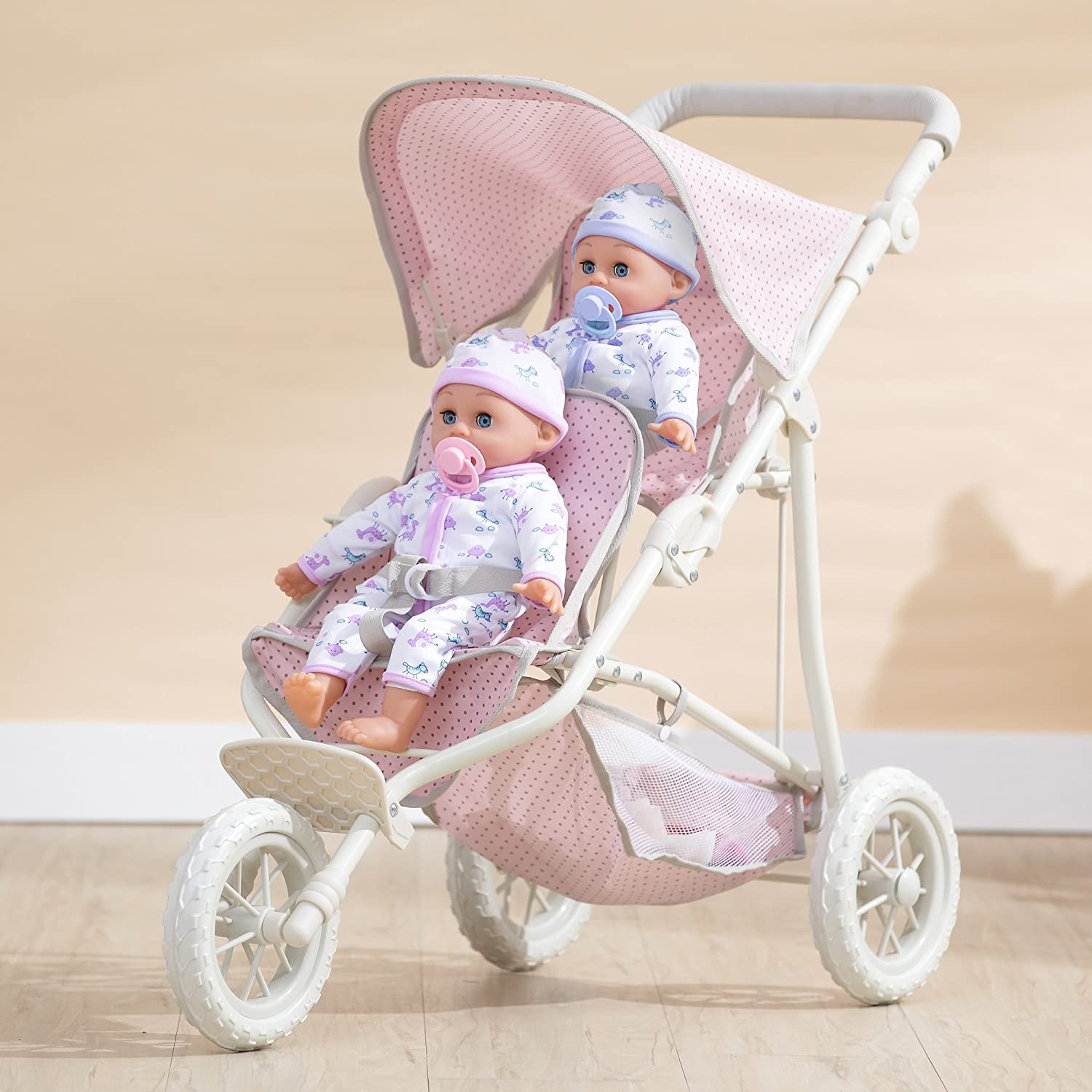 Olivia's Little World - Polka Dots Princess Baby Doll Twin Jogging Stroller , Foldable Double Stroller with Storage Basket and Safety Lock , Pink/Gray