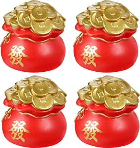 Amosfun 6pcs Feng Shui Money Statue Coin Pot Figurines Chinese Coins Golden Treasure Basin Good Luck Charms Lucky Home Decor Fortune Wealth
