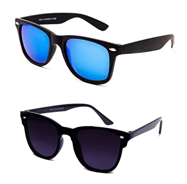 083cb16d7 THEWHOOP Unisex UV Protected Mirror Blue and Black Wayfarer Sunglasses  Combo (Lens Width: 54 mm): Amazon.in: Clothing & Accessories