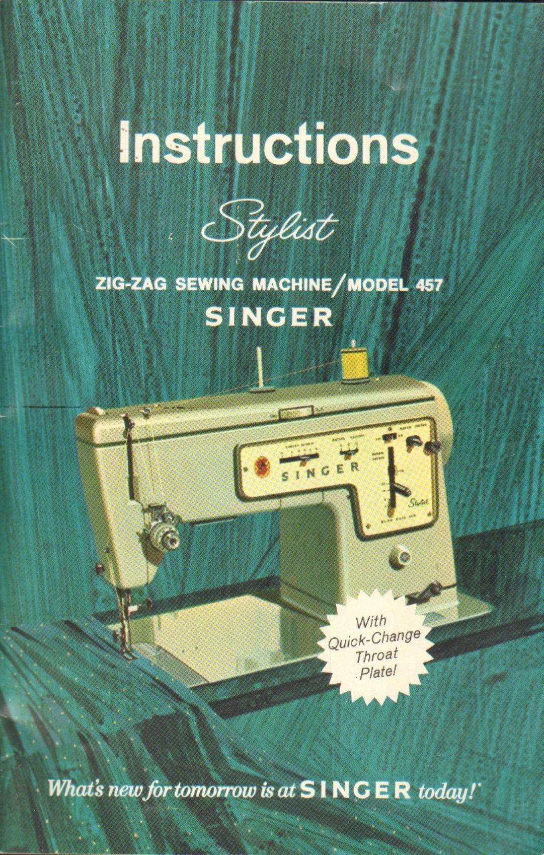 Singer stylist zig-zag sewing machine model 457 manual | ebay.