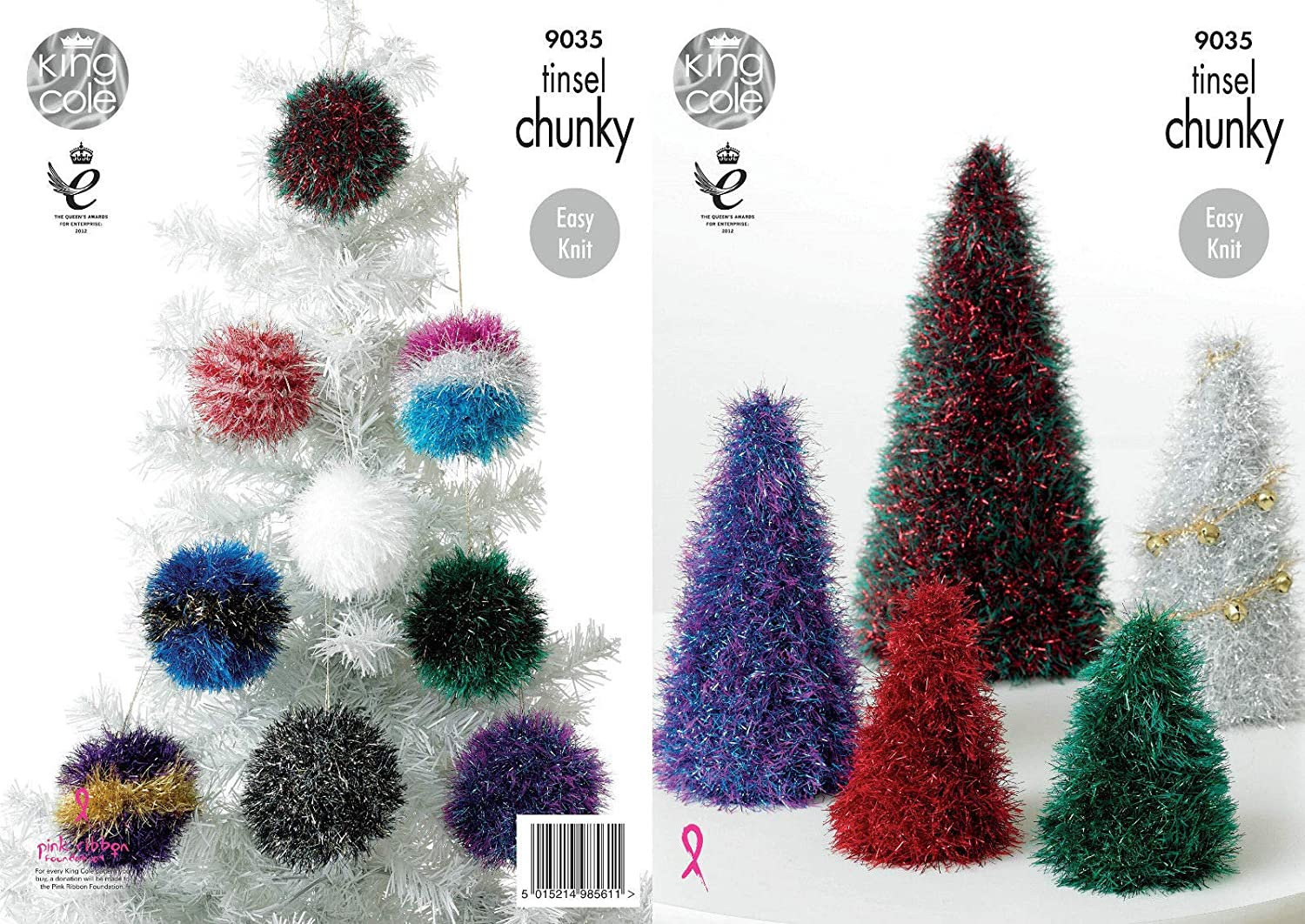 King Cole 9035 Knitting Pattern Tinsel Christmas Trees and Baubles ...
