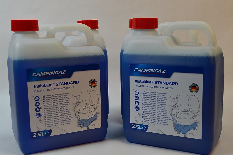 4 Kanister CAMPINGAZ a 2,5L (Gesamtmenge: 10L) InstaBlau® Standard Sanitärflüssigkeit für Chemietoiletten Toilette Chemietoilette Toiletten Camping Wohnwagen Wohnmobil
