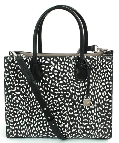 e281f52d1dc3 Michael Kors Mercer Leather Tote Large Handbag (Black Optic White Leopard  Print) RRP £