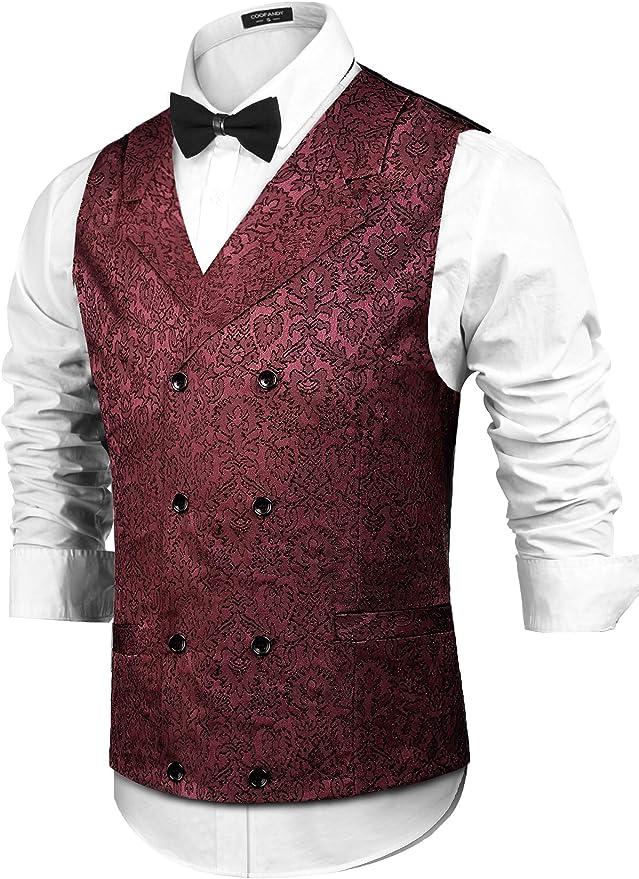 Men's Vintage Vests, Sweater Vests COOFANDY Mens Victorian Vest Steampunk Double Breasted Suit Vest Slim Fit Brocade Paisley Floral Waistcoat $28.99 AT vintagedancer.com