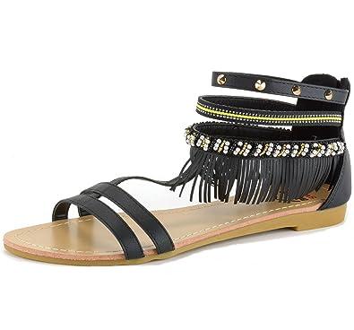 69e5a5fe7ff6d3 alpine swiss Womens Beaded   Studded Fringe Flat Gladiator Sandals Black 5  ...