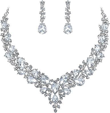 Clearine Femme Mariage Parures Cristal Goutte Collier Plastron Boucles doreilles Pendante Bijoux Ensemble