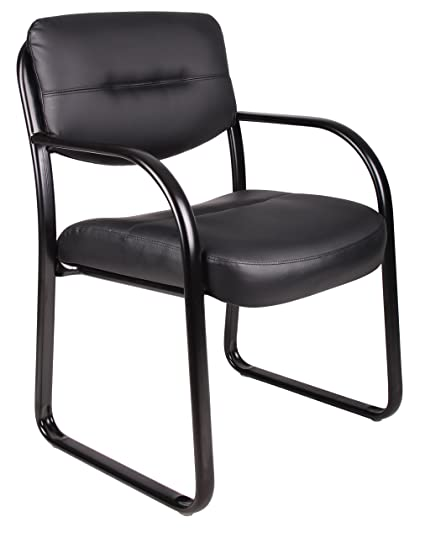 Delicieux Boss Office Products B9529 Leather Sled Base Side Guest Chair, Black