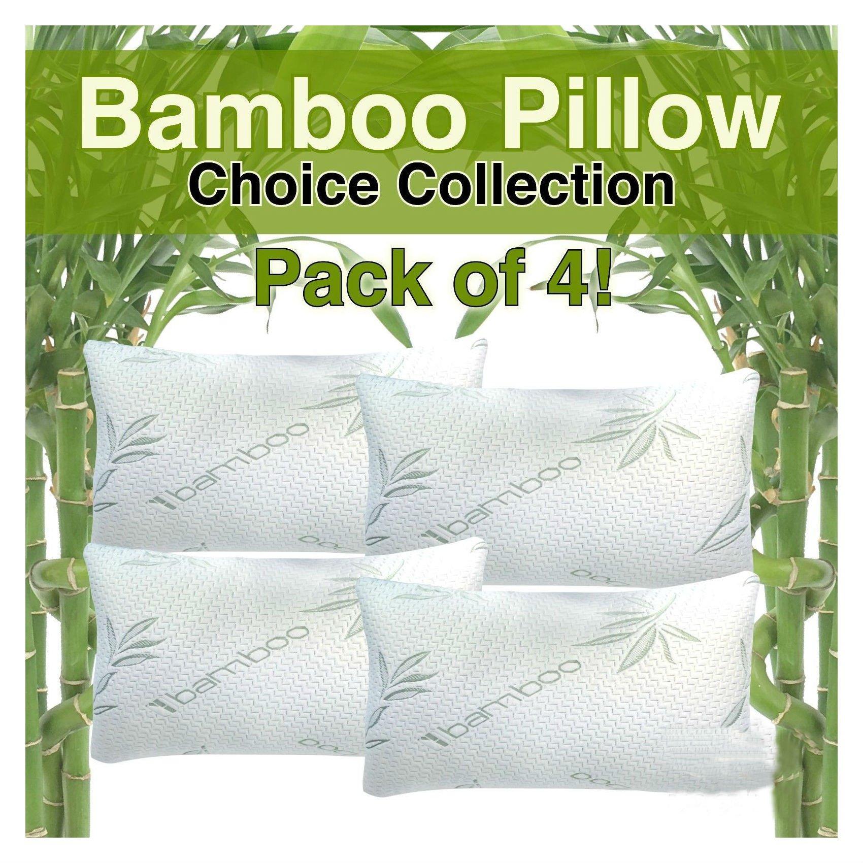 Hotel Comfort Bamboo Foam Pillows - Hypoallergenic - Queen Size Pack of 4
