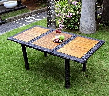 Table de jardin en teck et résine tressée - rectangle à rallonge 120 ...