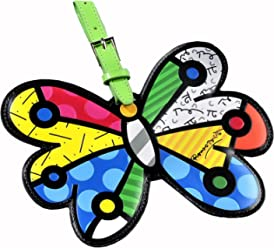 Romero Britto Lugggage Tag ID Custom Name (Multicolor/Butterfly)