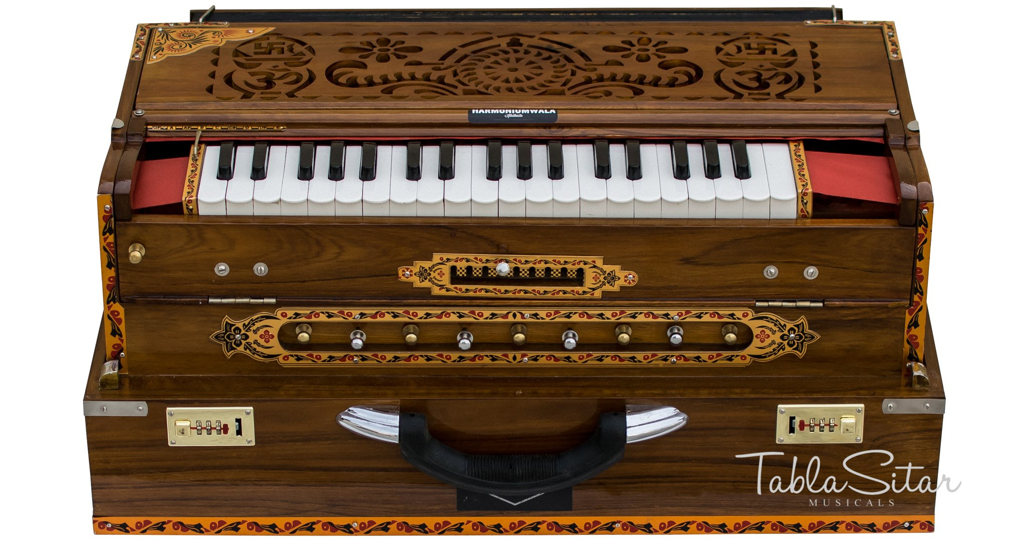 Scale Changer Harmonium, Maharaja Musicals, In USA, Triple Reed, 9 Scale Changer, 3 3/4 Octave, Natural, Teak Wood, Coupler, Book, Bag, Tuned to A440, Indian Musical Instrument Calcutta (PDI-AGI)