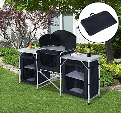 folding camping kitchen cabinet picnic table cupboard cooking storage travel - Camping Kitchen