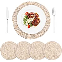 """AXABING 4PCS Natural Woven Placemats,Round Placemats Braided Rattan Tablemats 11.8"""",Large Handmade Woven Placemats Heat…"""