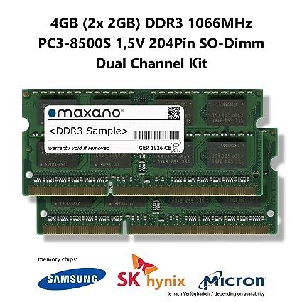 Maxano DDR3 1066MHz SO Dimm - Tarjeta gráfica 4GB (2X 2GB ...