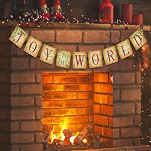 Christmas Decorations Indoor - JOY TO THE WORLD Banner - Vintage Xmas Decorations for Home Office Party Fireplace Mantle