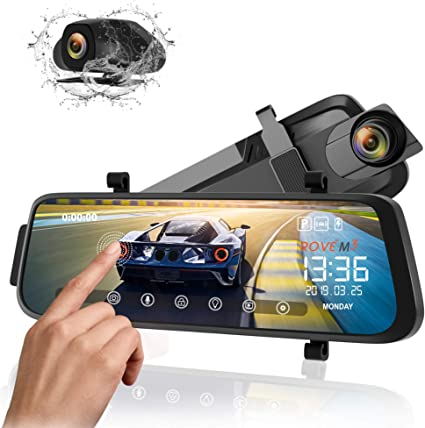 Mirror Dash cam by WiMiUS 10/'/' Full Touch Screen Backup Camera 2560x1440P Dual Dash cam Front and Rear with Super Clear Night Vision Parking Monitor G-Sensor Loop Recording for Car and Trucks