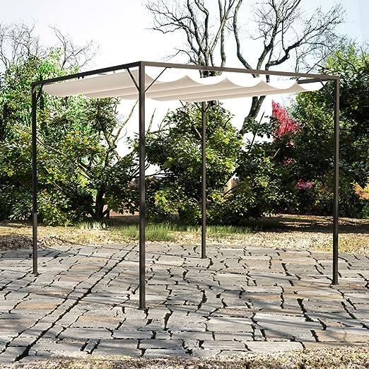 Festnight Carpa 3 x 3 Gazebo de Jardín con Dosel de Techo Retráctil, Gazebo de Jardin: Amazon.es: Hogar