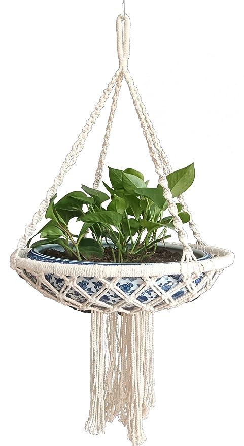 Water Plant Hanger Macrame Cotton For Indoor, Living Room, Kitchen, Deck,  Patio