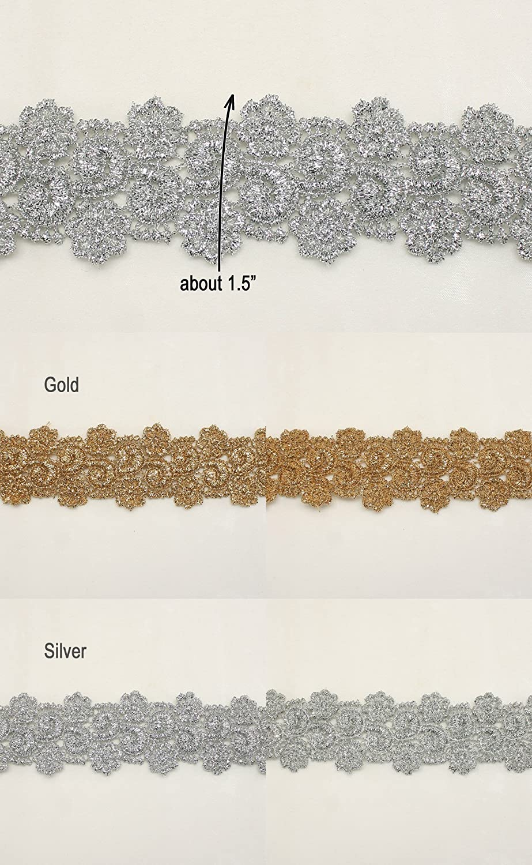 "1.5/"" Metallic Rayon Embroidery Scalloped Lace Trim Metallic Bridal wedding Lace"