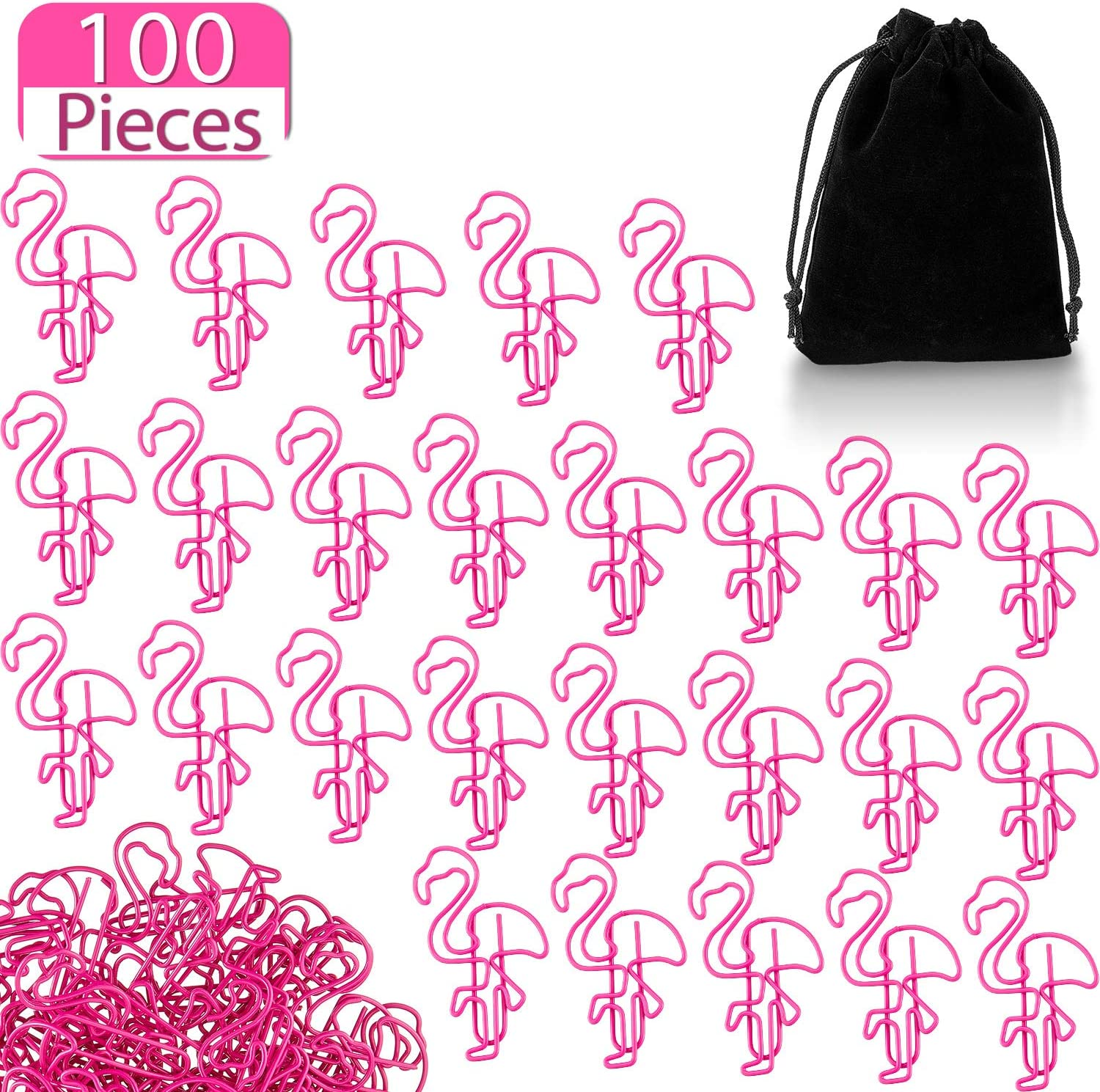 100 Pieces Flamingo Paper Clip Flamingo Shaped Paperclips Cute Animal Shape Bookmark Clips Metal File Note Clips Page Marker for Office School Home Supplies