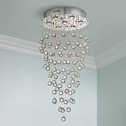 Aida Chrome Pendant Chandelier 17 3 4 Wide Modern Pouring Bubble Crystal Glass Globes 7-Light Fixture for Dining Room House Foyer Kitchen Island Entryway Bedroom Living Room – Vienna Full Spectrum