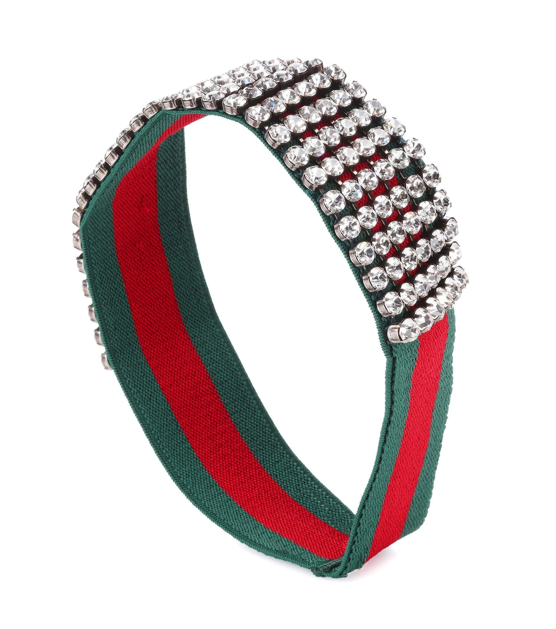 Italian design Luxury lifestyle brand Cruise Women red green Web sparkling Crystal elastic Embellished Headband