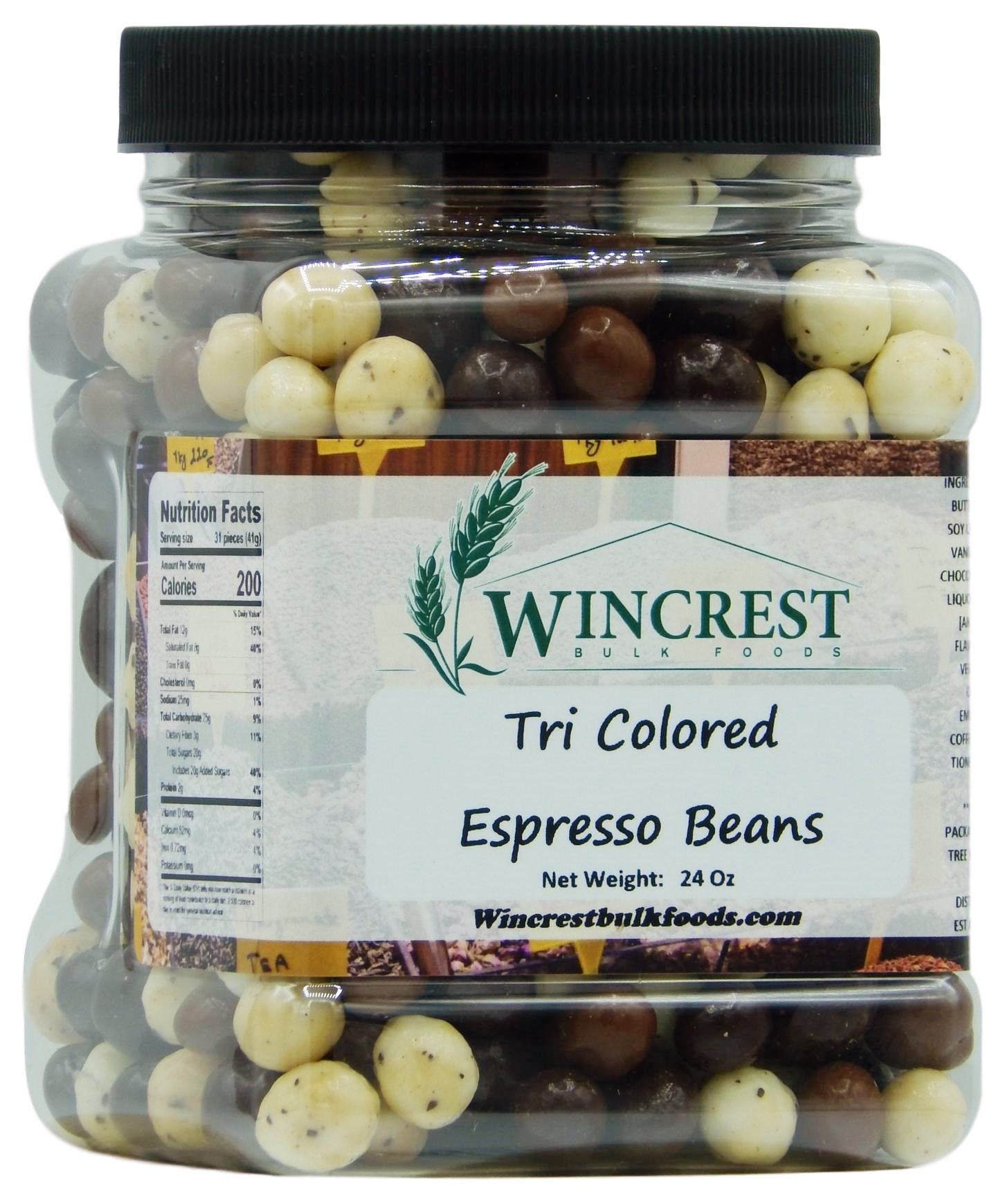 Chocolate Espresso Beans - 1.5 Lb Tub (Tri Colored) by WinCrest Bulk Foods
