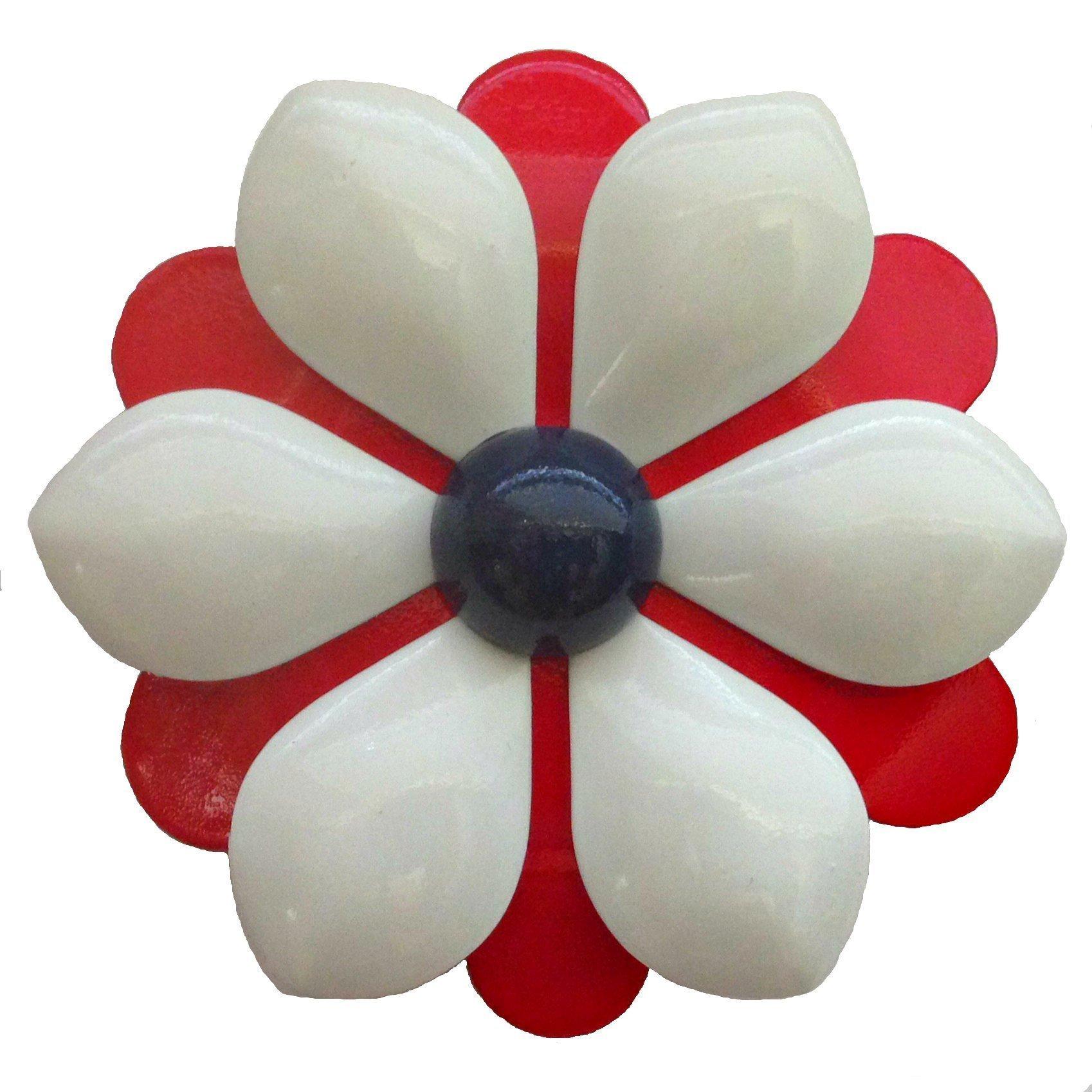 Red White and Blue Metal Enamel Flower Brooch