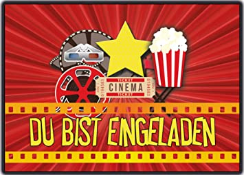Einladungskarten Kindergeburtstag Kino Kinoparty Film   8 Stück   Zum  Ausfüllen   Du Bist Eingeladen Einladung