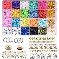 Sieraden maken Kit, Klei platte kralen 6mm 18 kleuren, Polymeer Ronde Clay Spacer kralen DIY Disk kralen met hanger…