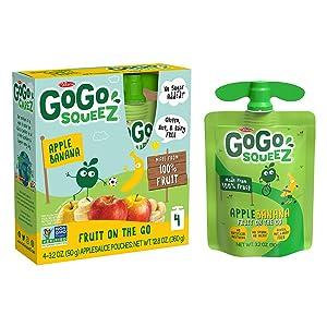 GoGo squeeZ Fruit on the Go, Apple Banana, 3.2 oz. (48 Pouches) - Tasty Kids Applesauce Snacks Made from Apples & Bananas - Gluten Free Snacks for Kids - Nut & Dairy Free - Vegan Snacks