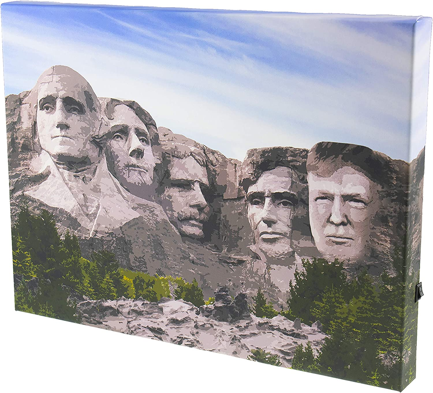 Clever Creations 12 x 16 Inch President Donald Trump on Mount Rushmore LED Light Funny Wall Art Canvas Poster