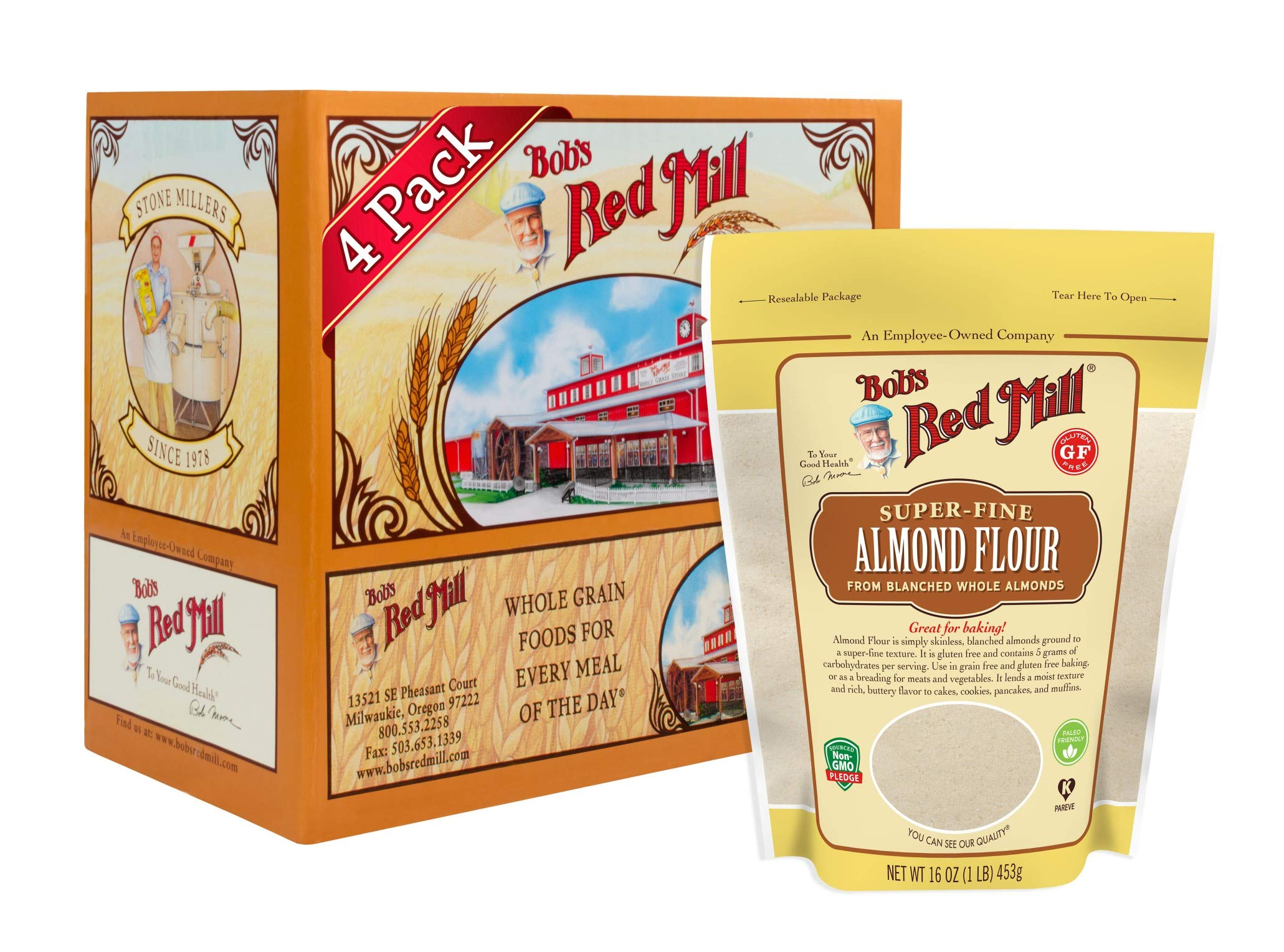 Bob's Red Mill Super-fine Natural Almond Flour, 16 Ounce, 4 Count by Bob's Red Mill