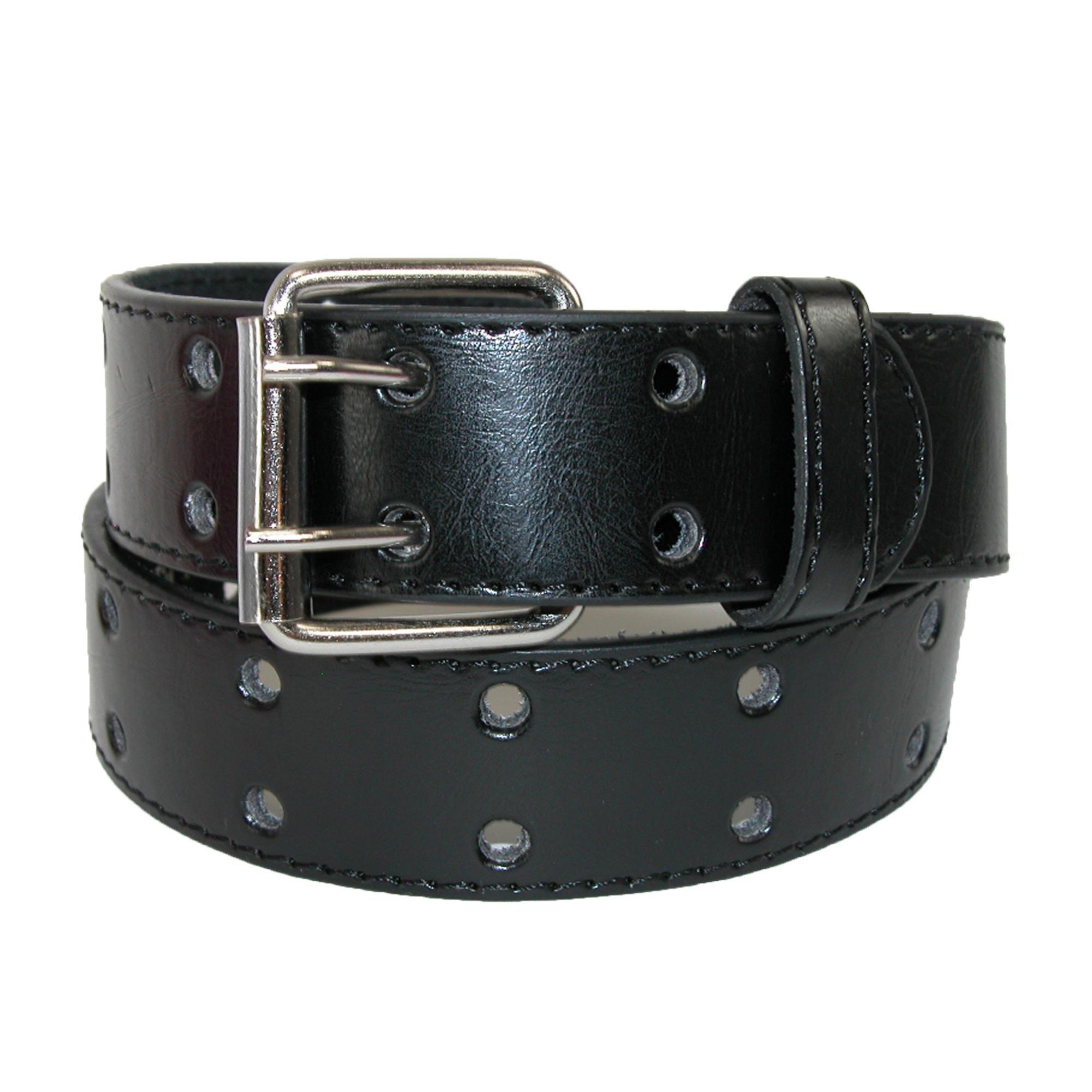 CTM Kids' Leather Two Hole Jean Belt, Large, Black