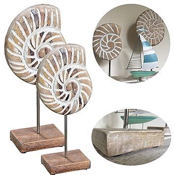 LS LebenStil LS Design 2X Mango Holz Deko Objekt Muschel Mit Sockel Skulptur  Maritim Set