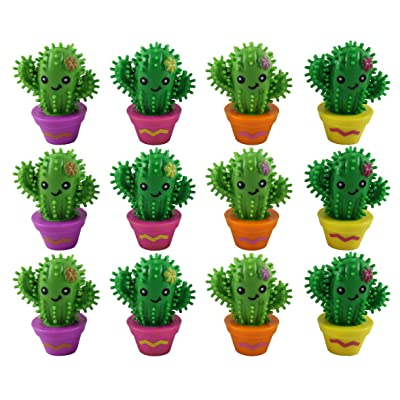 Cactus Figurines with Spiky Porcupine Wooly Hedge Ball Body Small Novelty Toy Prize Assortment for Birthday Party Gifts - Puffer (12): Health & Personal Care