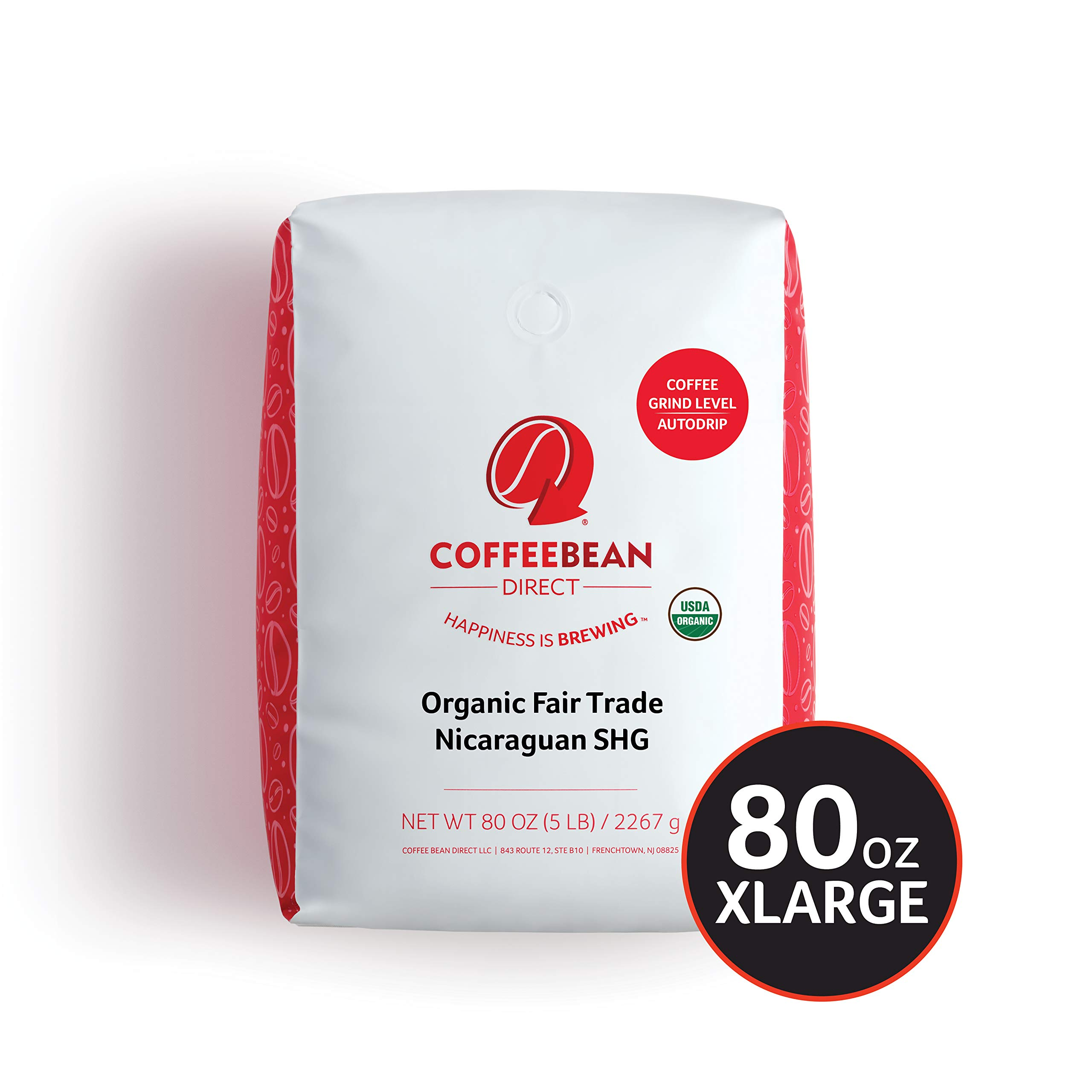 Coffee Bean Direct Nicaraguan, Shade Grown Organic Fair Trade Ground Coffee, 5-Pound Bag