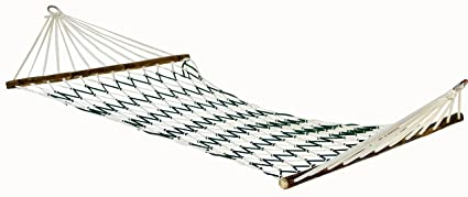 Novicz Cotton Camping Outdoor Hammock (White and Green, 190 Centimeters)