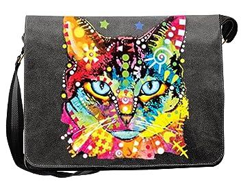 f96662fa6170e Umhängetasche Tasche-Vintagelook mit Cat-Neon-Druck  Blue Eyes für  Katzenfreunde