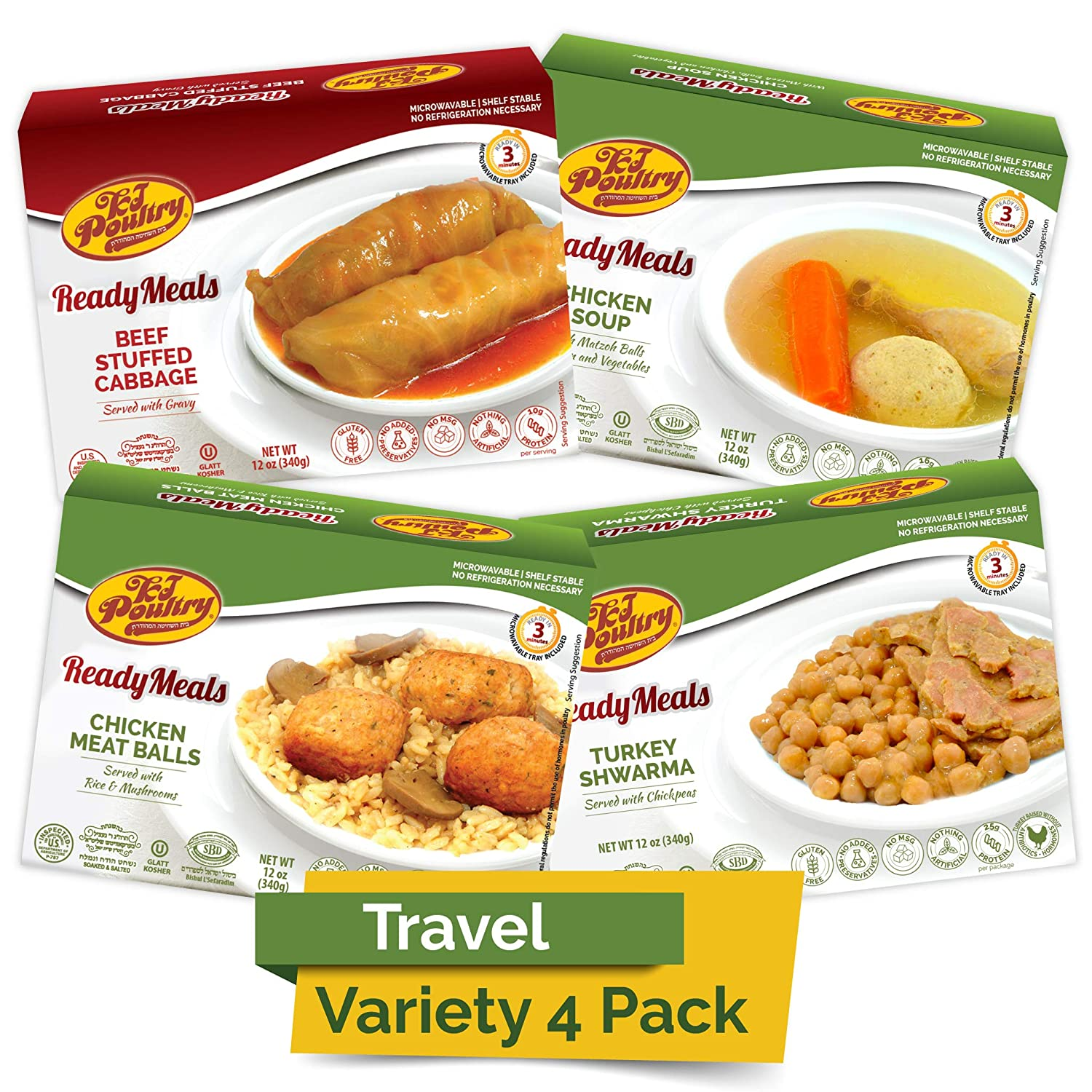Kosher MRE Meat Meals Ready to Eat (4 Pack Variety - Beef & Turkey) - Prepared Entree Fully Cooked, Shelf Stable Microwave Dinner – Travel, Military, Camping, Emergency Survival Protein Food Supply