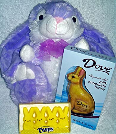 Amazon big beautiful lavender purple easter bunny plush with big beautiful lavender purple easter bunny plush with dove solid milk chocolate rabbit and box of negle Choice Image
